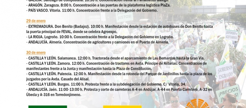 El sector agrario comienza mañana su calendario de movilizaciones con actos de protesta en once CC AA