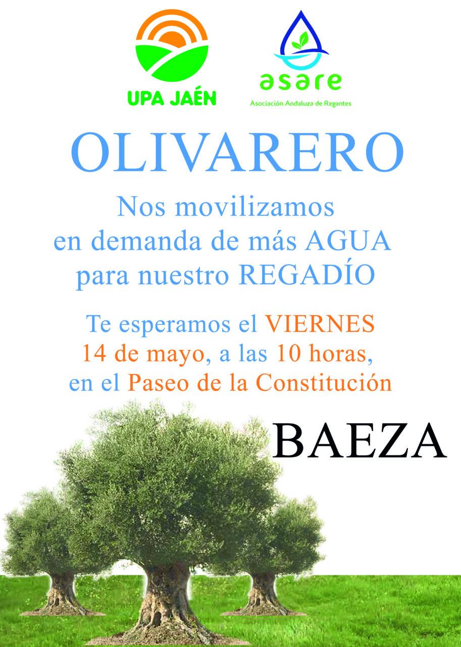 UPA Jaén y ASARE se concentrarán mañana viernes en Baeza para reclamar una mayor dotación de riego para el olivar